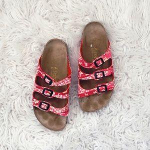 • Birkenstock • Three Strap Sandals Floral Pink 7